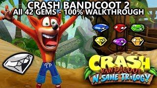 Crash Bandicoot 2 (N.Sane Trilogy) - 100% Full Game Walkthrough - All 42 Gems (Colored & Clear Gems)
