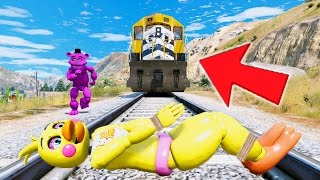 shadow freddy saves chica from the train running her over gta 5 mods for kids fnaf funny moments