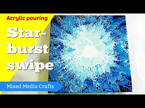 Blue starburst acrylic pouring swipe | Recreating an old project