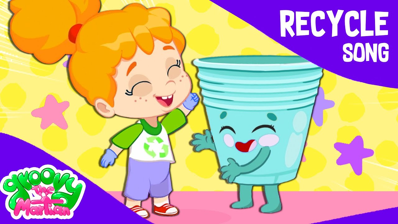 Groovy The Martian & Phoebe sing Let's recycle song | Educational Nursery Rhymes for kids