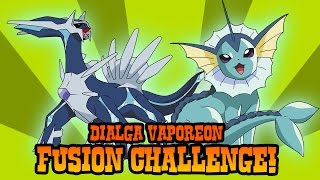 How to Draw Dialga and Vaporeon Fusion | ART CHALLENGE