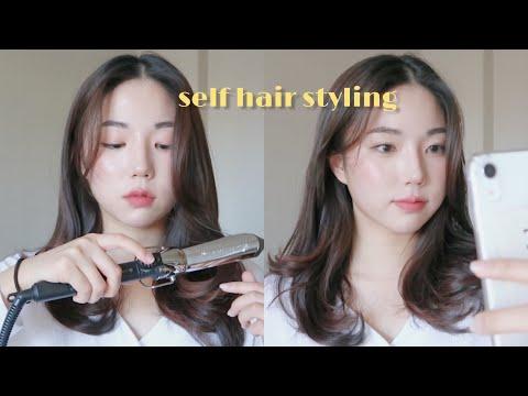 self hair styling tutorial 🌿/ 간단한 레이어드컷 고데기 , 셀프 c컬 / lune