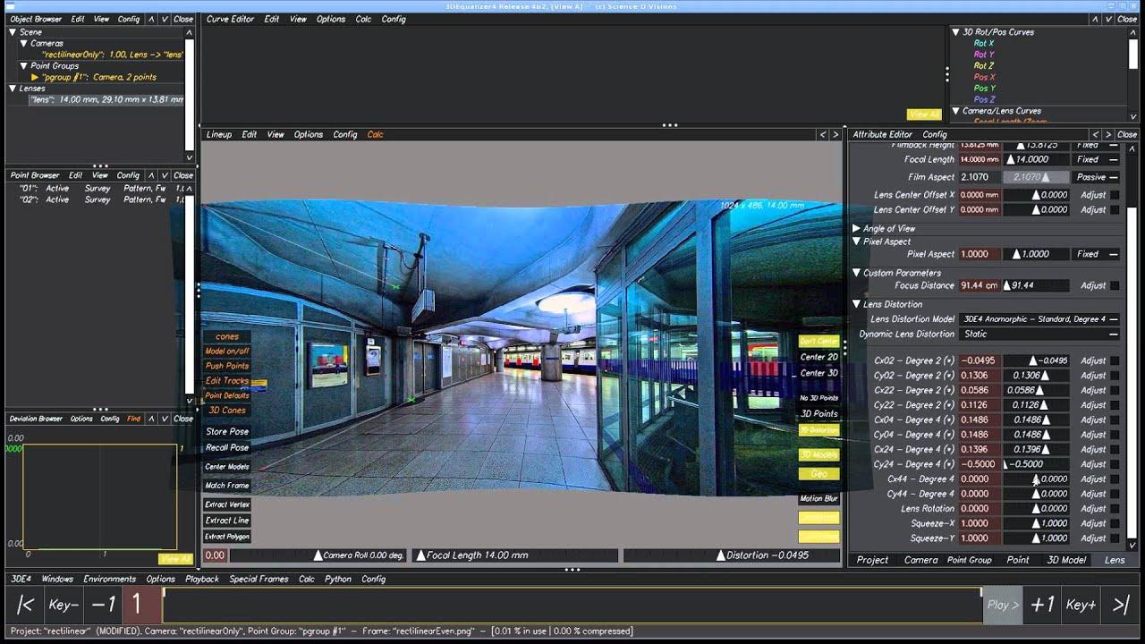 3DEqualizer4 [tutorial] - Lens Distortion - YouTube