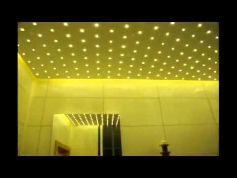 светодиодная подсветка потолка и зеркала в ванной комнате