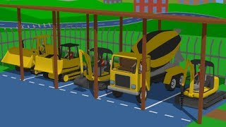 Road vehicles for children, i e  Mini Excavator, Bulldozer and Truck - Construction of the Workshop
