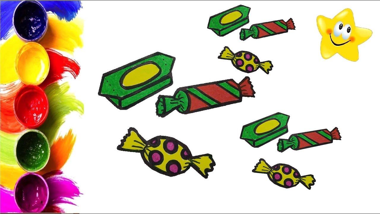 Рисунок, раскраска для детей ВКУСНЫЕ КОНФЕТЫ. Мультик ...