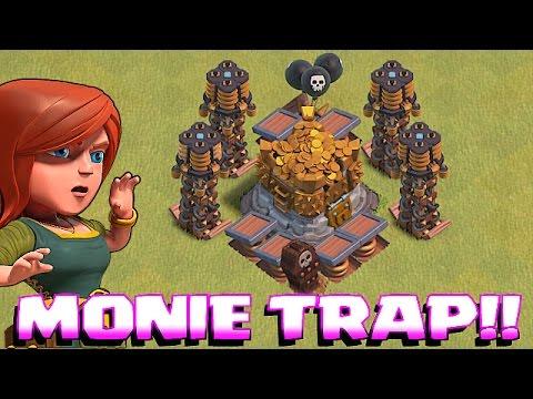 Clash Of Clans - TROLL DEFENSE w/ MAX LOOT vs. WEAK PLAYERS!!! (Metal gear Miner!!)