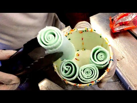 Ice Cream Rolls   Crazy Cotton Candy & Bubble Gum / Fried Thailand Ice Cream rolled by Ice Pan Egypt