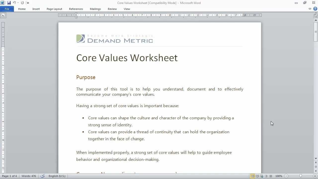 Core Values Worksheet YouTube – Core Values Worksheet