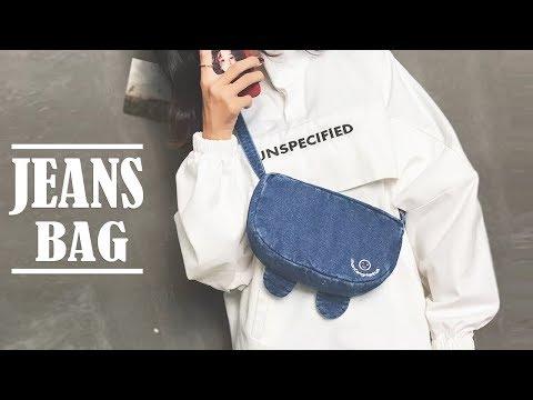 DIY SWEET DREAMS JEANS PURSE BAG IDEA // Crossbody Zipper Bag Tutorial - YouTube