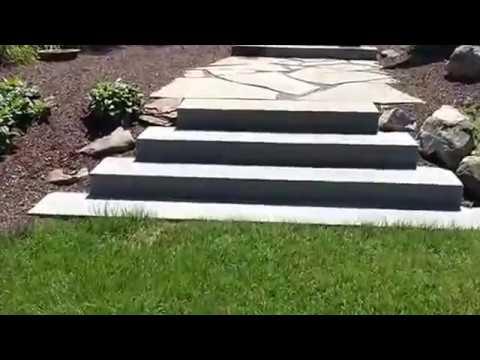 Landscape Project With Brick Patio, Stone Steps U0026 Plants