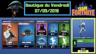 "Fortnite Boutique du 7 Septembre 2018 avec ""Joker 4 Skins"" + NOUVELLE EMOTE ""Euphorie"" Shop 07/09/18"