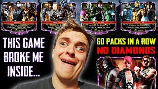 HUGE Pack Opening in MK Mobile GONE WRONG! Opening Every Diamond Pack Till I get a Diamond! SO SAD!