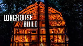 First Night Camping in the Native American-Style Longhouse - E.4 - Covering it with Bark