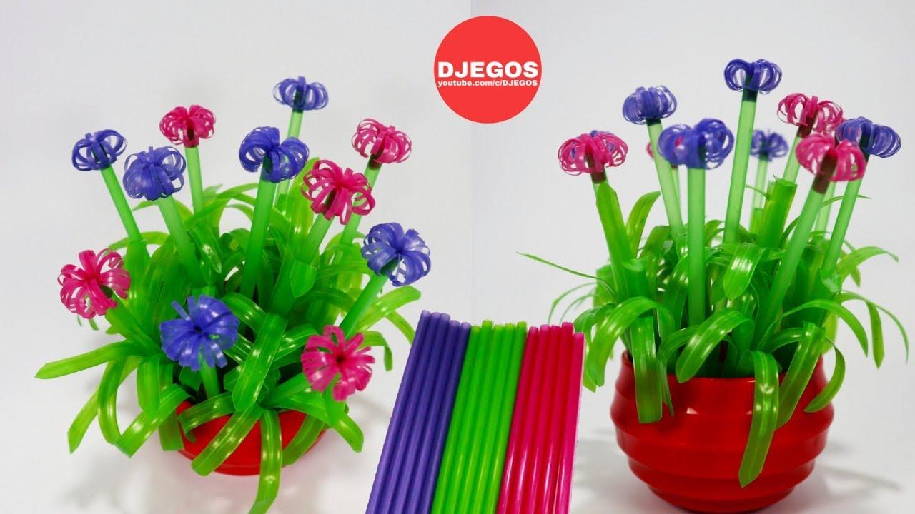 Cara Membuat Bunga Dari Sedotan Mudah Simpel Tanpa Lem Drinking Straw Flower Easy Youtube