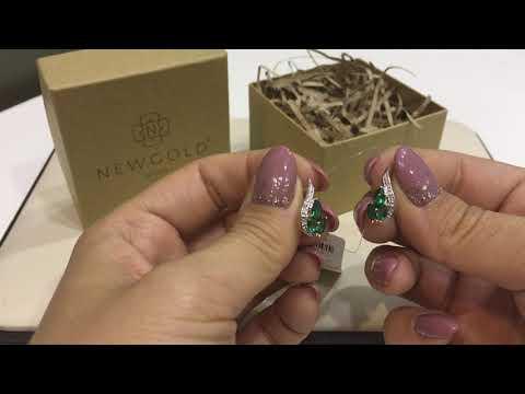 Серьги 393 из красного золота 585 пробы с изумрудами ГТ и бриллиантами
