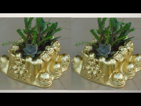 DIY- Decorative cement pot/Cement craft ideas.