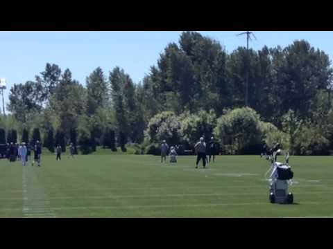 Vernon Adams throws passes at the Seattle Seahawks rookie mini-camp