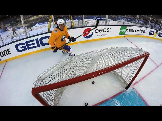 Sabres goalie Chad Johnson wears GoPro at Citi Field