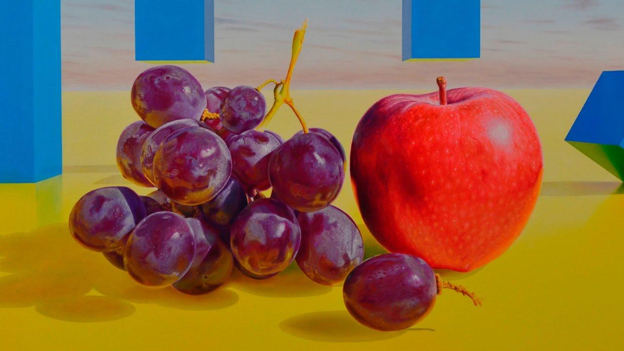 Paso a paso de una pintura hiperrealista al leo con uvas - Pure de castanas y manzana ...