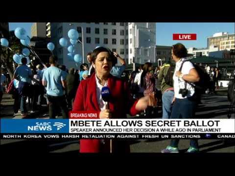 Celebrations outside Parliament following secret ballot decision