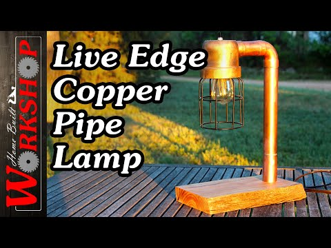 Reclaimed Copper Pipe Lamps (with Live Edge Elm Base)