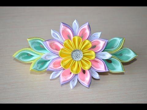 DIY kanzashi. Цветы канзаши – заколка из лент с бусинами: подробный видео урок