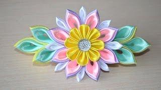 Мастер класс из лент Заколки своими руками DIY ribbon flower kanzashi handmade