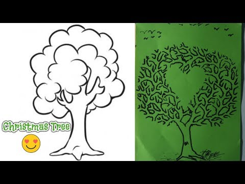 how-to-draw-a-tree-step-by-step-|-glitter-christmas-tree-drawing-for-kids,-toddlers-|-nk-crafts