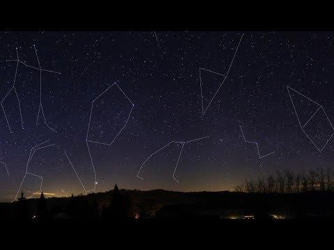 Созвездия ночного неба 360° 4K Short Film видео для VR