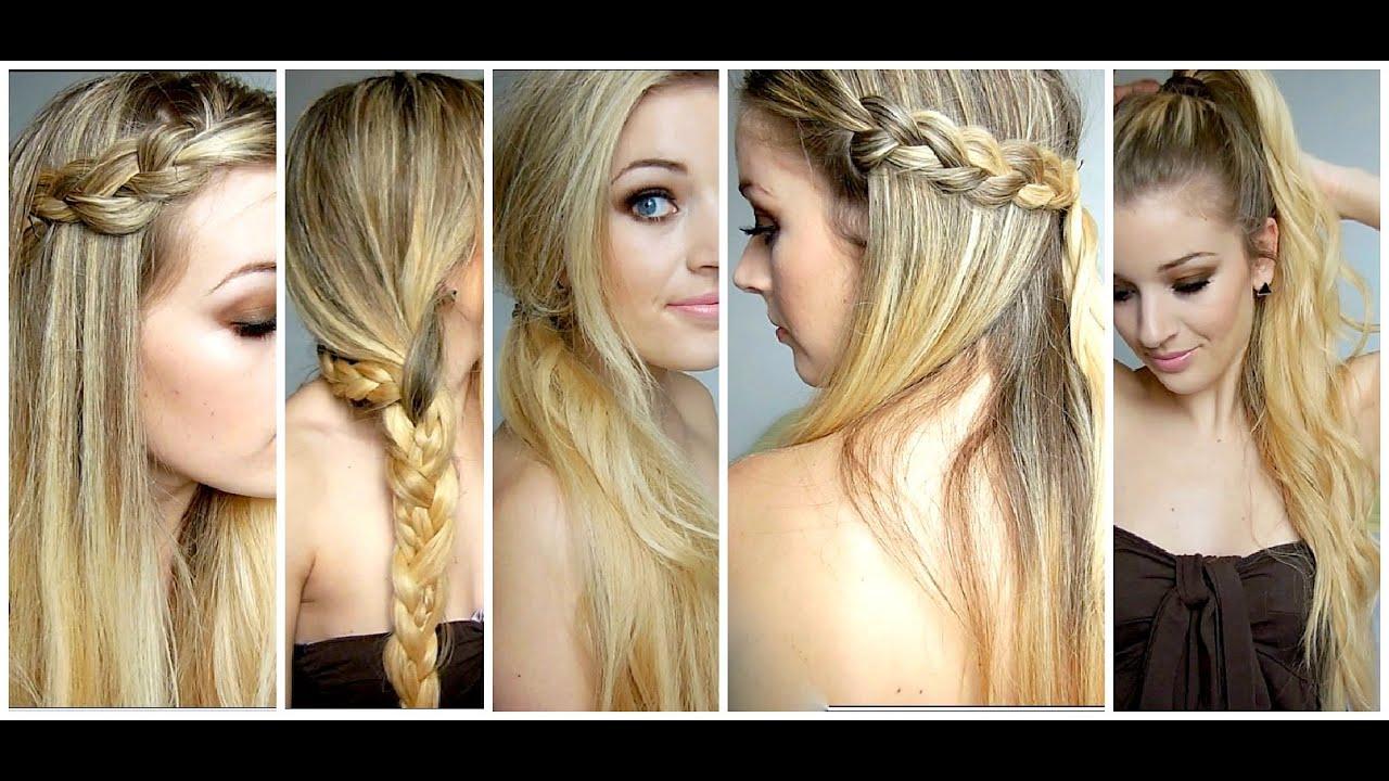 5 Coiffures faciles et simples cheveux longs mi-longs - YouTube