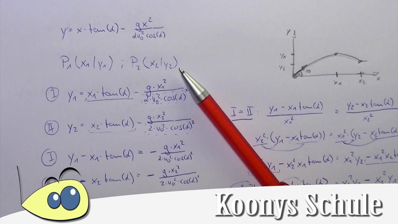 Schräger Wurf, schweres Gleichungssystem mit 2 Punkten lösen - YouTube