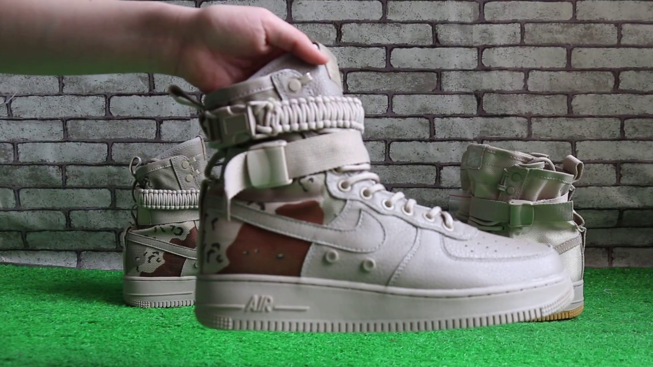 "the best attitude 5f7c9 f7c41 Nike Special Field Air Force 1 QS ""Desert Camo"" and ""String Gum"" HD review"