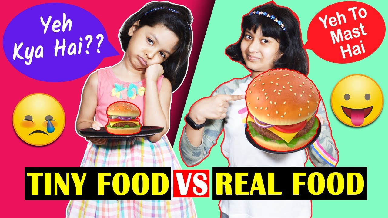 Tiny Food vs Real Food Challenge | Cute Sisters
