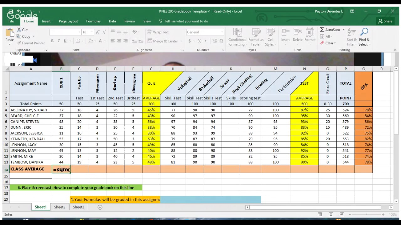 Excel Gradebook Template Youtube