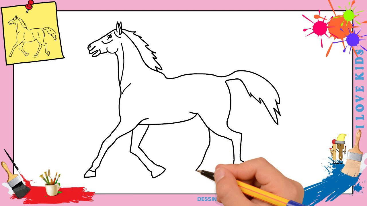 Dessin cheval 3 facile comment dessiner un cheval - Dessin cheval facile faire ...