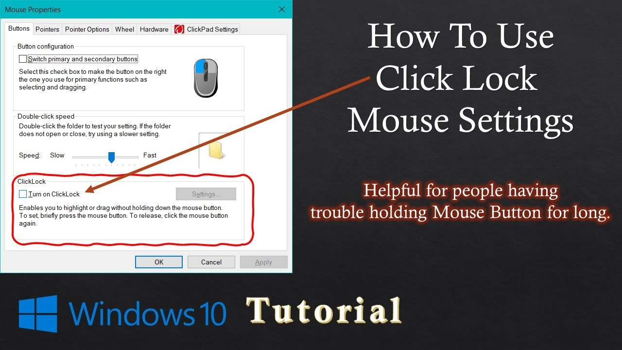 How to Use Click Lock Mouse Settings in Microsoft Windows 10 Tutorial