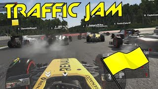 22 CARS PILED UP INTO 1 CORNER - F1 Safety Car Game