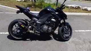 Black 2015 Kawasaki Z1000 full Akrapovic Exhaust