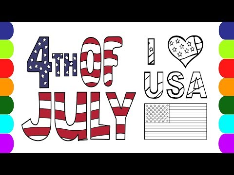 Geography For Kids - Coloring Flag of USA and National Anthem of United States