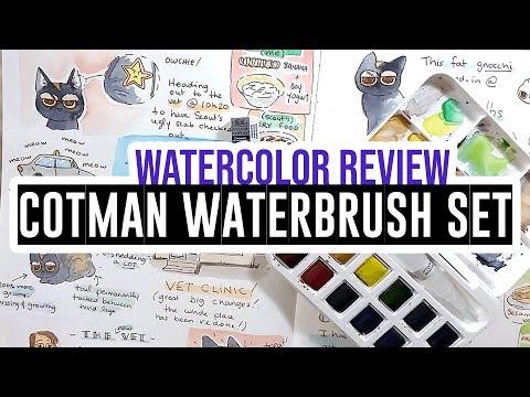 Review & demo - W&N Cotman water brush pen & watercolors set
