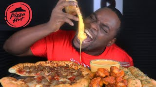 CHEESY PIZZA HUT MUKBANG | SPICY BUFFALO CHICKEN WINGS & GARLIC CHEESE BALLS | BEAST MODE