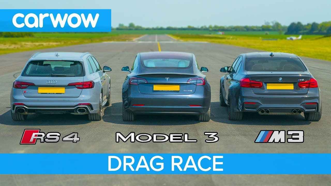 Tesla Model 3 vs BMW M3 vs Audi RS4 - DRAG RACE, ROLLING RACE & BRAKE TEST