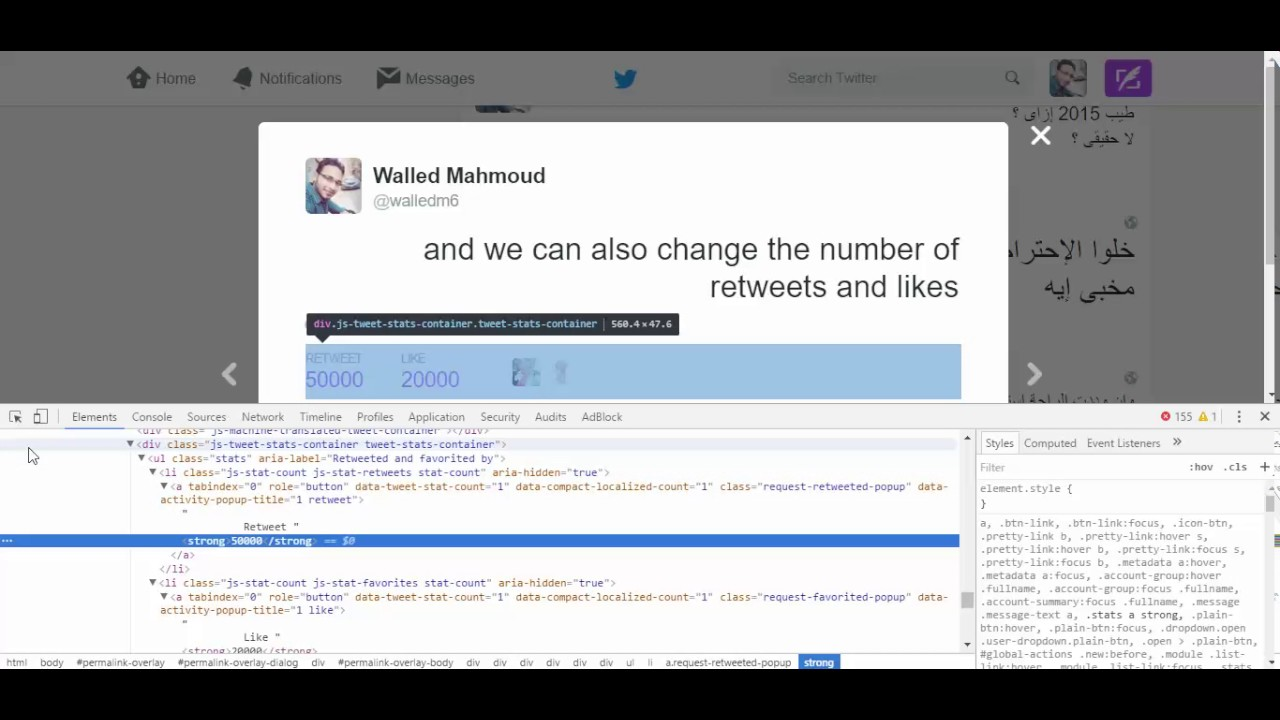 How To Change Words in Any Tweet/Post By Inspect Elements ...