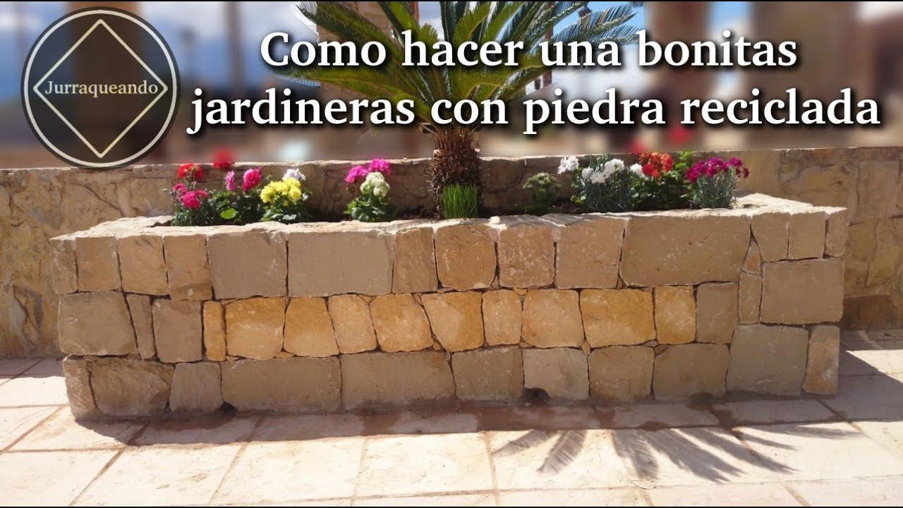 Como hacer una bonitas jardineras con piedra reciclada - Como hacer jardineras de piedra ...