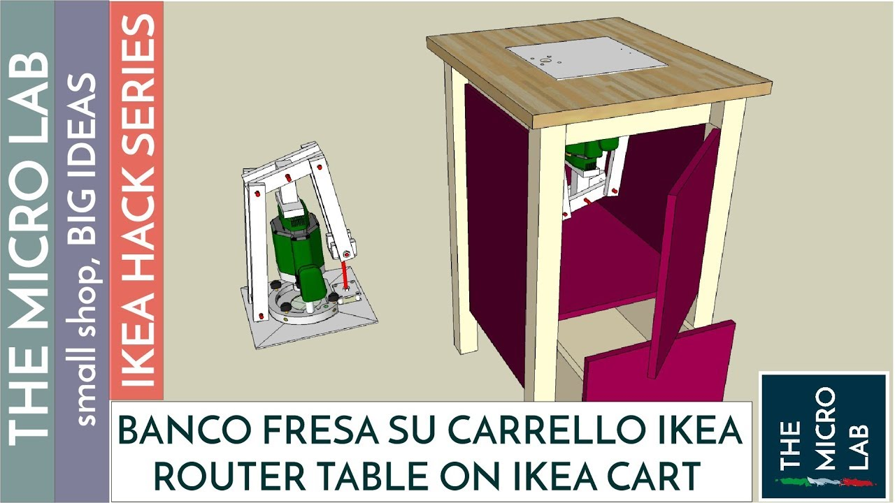 Banco fresa su carrello da cucina ikea router table on for Carrello portaspesa ikea