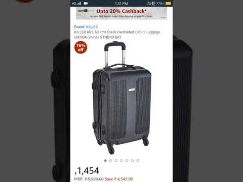 🔥 KILLER ABS 58 cms Black Hardsided Cabin Luggage in 1454rs [mrp 5999rs]