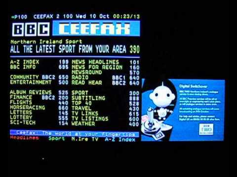 BBC Two NI analogue TV & Ceefax shutdown, 10th October 2012