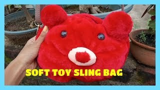 SOFT TEDDY BEAR SLING BAG BY DIPASCRAFTSCHOOL WITH FREE PARTTEN