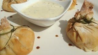 Leek And Prawns Filobites With Mustard Dipping Sauce